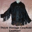 Vintage Black Leather Jacket Long FRINGE Tons of it! Hippie Western Biker Coat Mens or Womens 42/L!