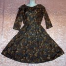 Vintage 60s Day Dress Leopard Butterfly Mr Simon vlv 3/4 Sleeves Scoop Shawl Neckline Fits S-M