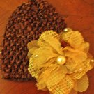 Brown hat with Flower clip