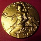 "Rare Bronze ""Exposition National"" Metz 1920 Medal by F. Rusumny in Original Box"