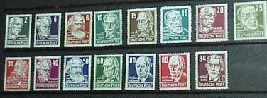 German Democratic Republic Scott's set # 122-136 OS2 Russian Occupation 1948