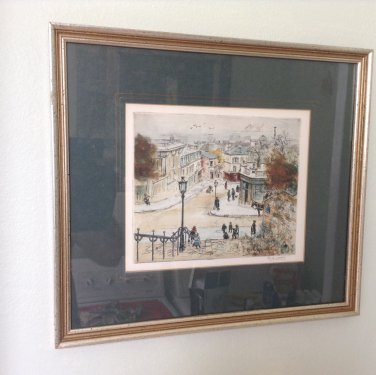 Known French Artist Eugene Veder signed Etching
