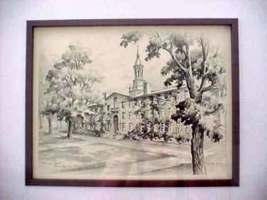 Princeton's Nassua Hall Lithograph by Lucille Hobbie