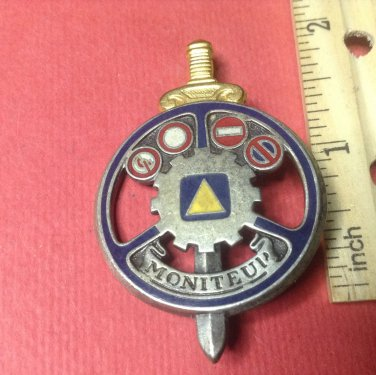 Vintage Enameled French Militaire pin by Drago H663
