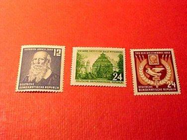 German Democratic Republic Scott's set #110-12 Oct .1952