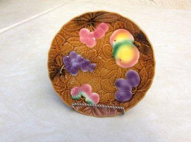 Vintage Large French Majolica Salins Les Bains Fruit Platter