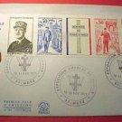 """France Scott #1322-25 A576&CD134 Charles DeGaulle""""Cover""""set 1890-1970 Nov.9,1971"""