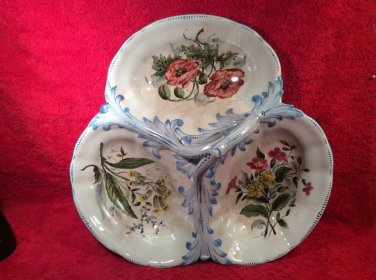 Antique Sarreguemines French Faience Handled Serving Plate Circa ,1855 !!