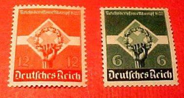"German Scott's #454-455 A76 ""Wreath and Swastika"" April.26,1935"