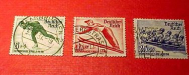 German Scott's set B79-81 SP69 Nov.25,1935 Winter Olympics Bavaria Feb.6-16 1936