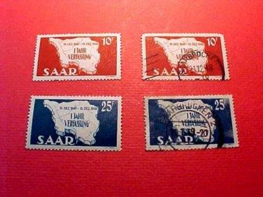 Saar Stamp set 201-202 Dec15,1948 1 set new 1 set used