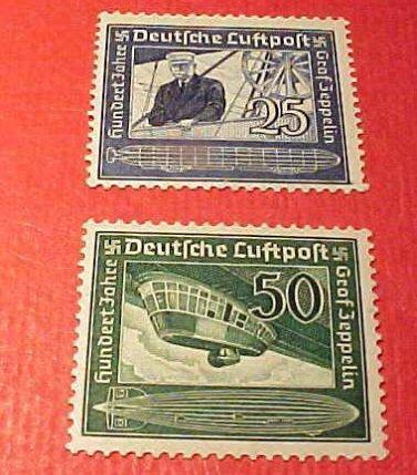 """German Scott's #C59 & C60 AP11&12 """" Count Zeppelin"""" July 5,1938 Full set"""