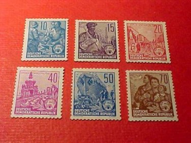 """German Democratic Republic Set 227 & 230a A43 """"Redrawn Types of 1953-54"""" 1955"""