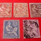 "France Scott #133-137 A19""Rights of Man"" 1902 Canceled"