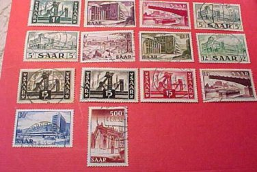 Saar Stamp set Scott # 232-245 A70-A73 canceled
