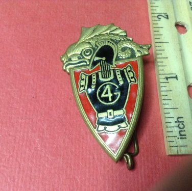 Vintage French Enameled Military Badge pin by Drago of Paris #211