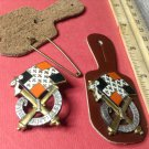 Pair of Vintage Enameled French Military Badges pins G881s from Drago of Paris