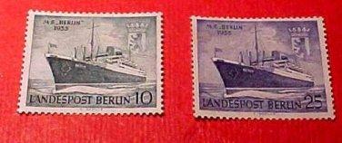 """German Scott's set #9N113 & 9N114 A19 """"M.S. Berlin & Arms of Berlin""""Mar.12,1955"""