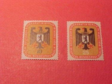 """German Scott's set #9N118 & 9N119 A22 """"Arms of Berlin"""" Mar.16,1956"""