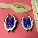 Vintage Red White Blue Enameled French Militaire pins by Y Delsart G1608