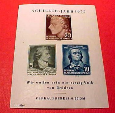 "German GDR Scott's Souvenier Sheet #243a A68 ""Friedrrich von Shiller"" Apr.20,55'"