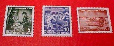 """German GDR Scott's 255-257 A71 Full set"""" Land Reform Program"""" June 20,1955"""