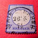 German Scott's # 24 A4 7kr 1872 Center Embossed