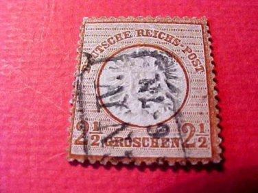 German Scott's # 19 A4 2 1/2 gr 1872 Center Embossed
