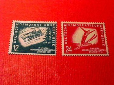 "German Democratic Republic Scott's #76-77 ""Winter Sports"" Feb.3,1951"