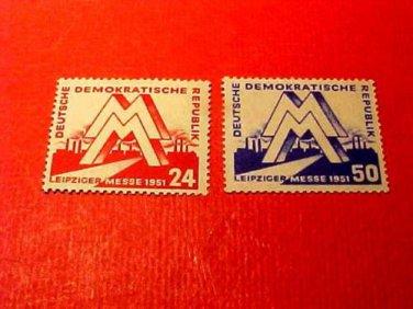 """German Democratic Republic Scott's #78-79 """"Leipzig Fair"""" March 4,1951"""