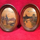 "VTG French Pyro Art set"" Storks over Alsace"" In oval Frames by Jean Claude Boli"