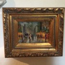French Oil Painting, Street Scene in Evening, Very French