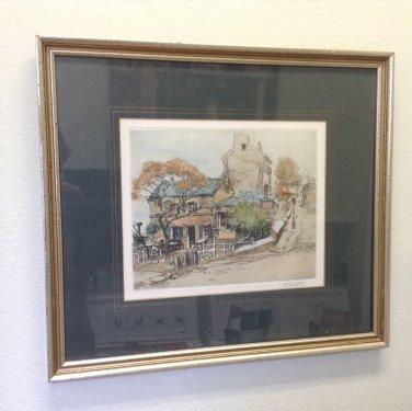 Famed Parisian Artist Eugene Veder signed etching !
