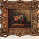 Beautifully Framed Bouquet Of Flowers Oil Painting