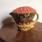 Vintage Majolica Pitcher in form of Bushel Basket of Pink Roses, Beautiful!