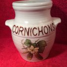 "Vintage French Pickle Pot In Raised Letters ""Cornichons"" Very French"
