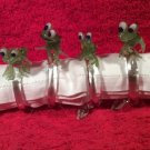 Vintage French Handblown Glass Frog Napkin holders from France
