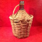 "Antique ""Vayelence"" Green Petite Demijean Wine Bottle in Rattan"