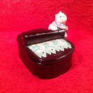 Vintage Majolica Sardine Box Cat opening Tin of Sardines handpainted by Fitz&Floyd RARE #65