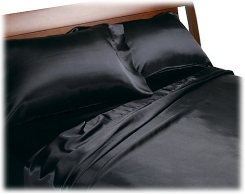 Divatex Home Fashions Royal Opulence Satin Full Sheet Set, Black