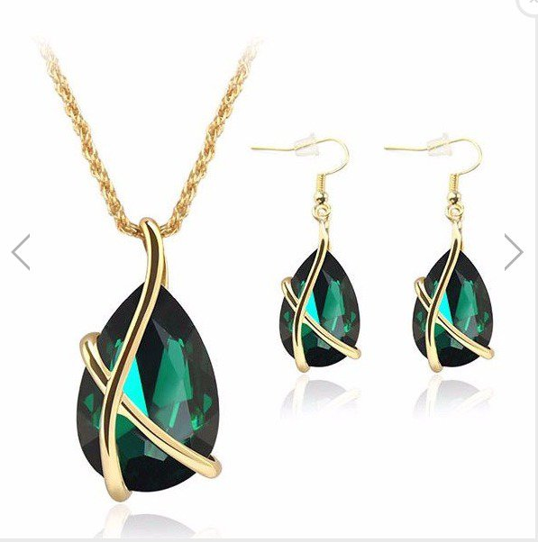Crystal Water Drop Necklace Earrings Jewelry Set For Women
