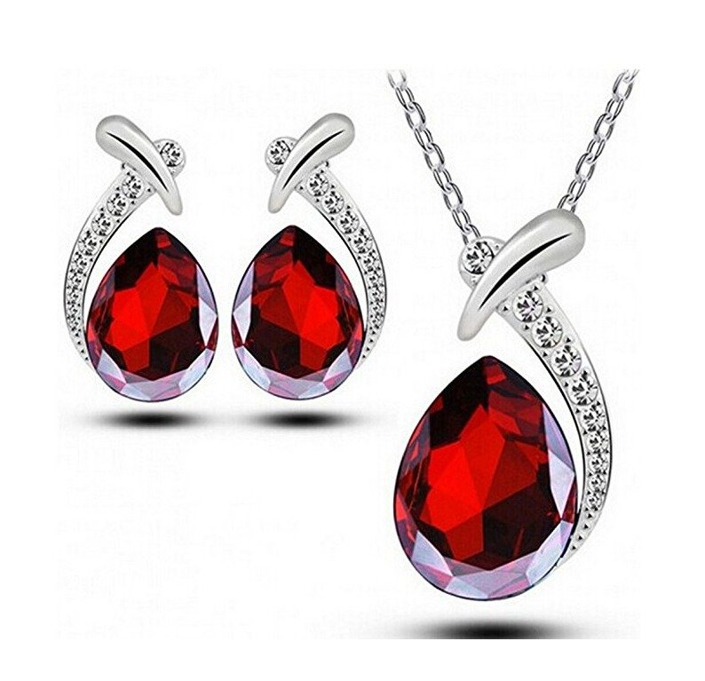 Red Water Drop Necklace & Earrings Jewelry Set Red