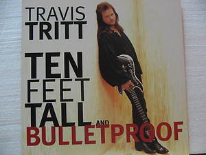 "TRAVIS TRITT usa display TEN FEET TALL AND BULLETPROOF Country 12"" X 12"" DOUBLE-"
