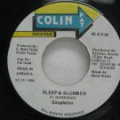"SIMPLETON jamaica 45 SLEEP & SLUMBER 7"" Reggae COLIN-FAT-RECORDS"