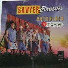 """SAWYER BROWN usa display OUTSKIRTS OF TOWN Rock 12"""" X 12"""" DOUBLE-SIDED POSTER. T"""