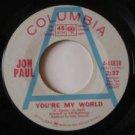 "JON PAUL usa 45 PORTRAIT OF LIFE/YOU'RE MY WORLD 7"" Rock PROMO COLUMBIA"