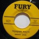 """JOHNNY JONES usa 45 TENNESSEE WALTZ/I FIND NO FAULT 7"""" Rock SMALL WRITING ON LAB"""