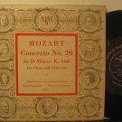 "FRANK PELLEG usa 10"" MOZART PIANO CONCERTO N.20 Classical TEAR ON BACK COVER MMS"