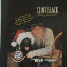 "CLINT BLACK usa display HOLIDAY WISH LIST Country 12"" X 12"" DOUBLE-SIDED POSTER."