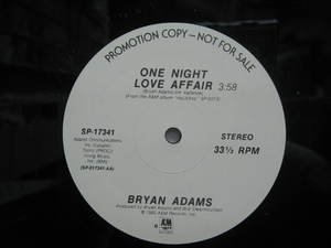 "BRYAN ADAMS usa 12"" ONE NIGHT LOVE AFFAIR Dj WHITE JACKET A&M"